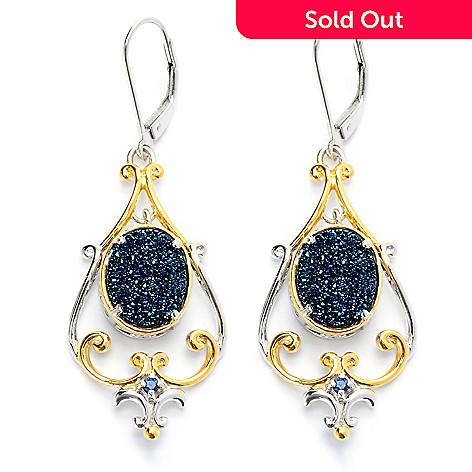131-696 - Gems en Vogue 2'' 11 x 9mm Oval Drusy & Sapphire Drop Earrings