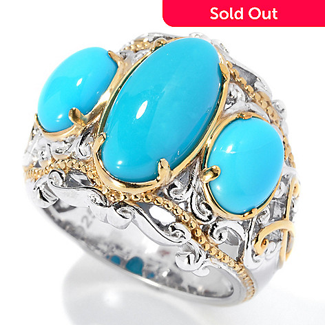 131-697 - Gems en Vogue Sleeping Beauty Turquoise Three-Stone Ring