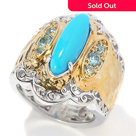 131-699 - Gems en Vogue 15 x 5mm Sleeping Beauty Turquoise & Blue Zircon Hammered Ring