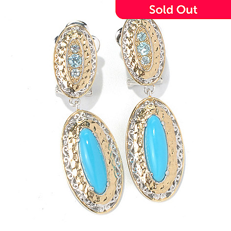 131-700 - Gems en Vogue 1.75'' Sleeping Beauty Turquoise & Blue Zircon Drop Earrings