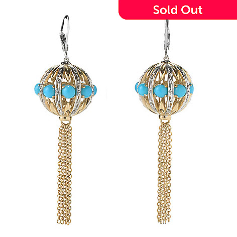 131-702 - Gems en Vogue 2.5'' Sleeping Beauty Turquoise Ball & Chain Tassel Earrings