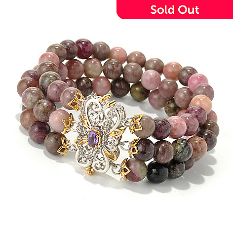 131-704 - Gems en Vogue 6.5'' Multi Color Tourmaline & Amethyst Beaded Three-Row Bracelet