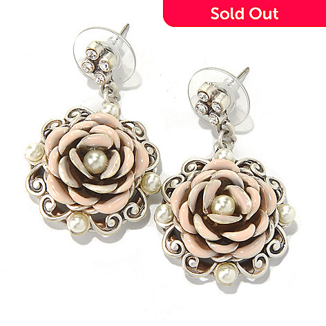 131-712 - Sweet Romance™ 1.5'' Rose Motif Dangle Earrings