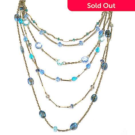131-713 - Sweet Romance 20'' Shaded Blue Crystal Six-Strand Tiered Necklace
