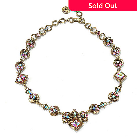 131-714 - Sweet Romance 17'' Iridescent Crystal Round & Square Link Necklace