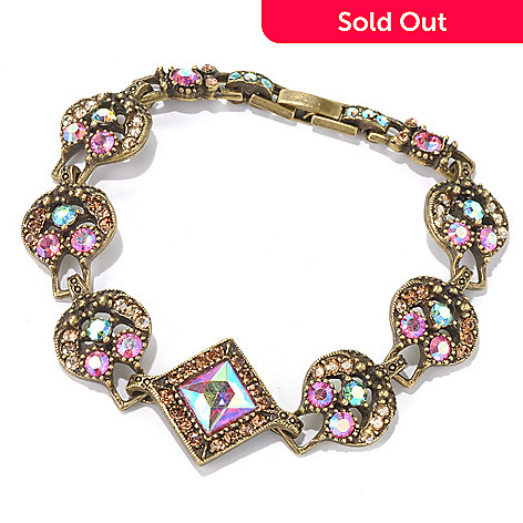 131-715 - Sweet Romance™ 7.25'' Iridescent Crystal Round & Square Link Bracelet