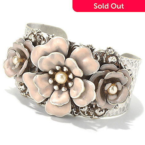 131-717 - Sweet Romance™ 7'' Adjustable Hammered Rose Motif Cuff Bracelet