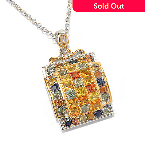 131-718 - Gems en Vogue II 4.46ctw Round & Princess Cut Multi Sapphire Pendant w/ Chain