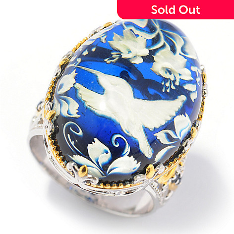 131-721 - Gems en Vogue 25 x 18mm Carved Amber Hummingbird Intaglio & Sapphire Ring
