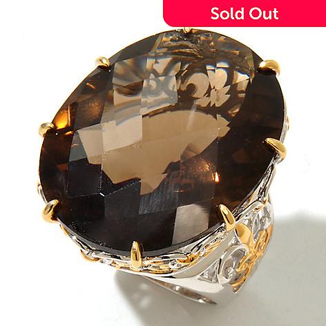 131-727 - Gems en Vogue 42.12ctw Smoky Quartz & Ruby Elongated Ring