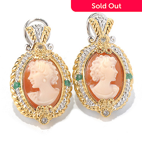 131-732 - Gems en Vogue Hand-Carved Shell Cameo, Emerald & White Sapphire Drop Earrings