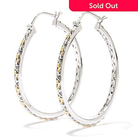131-733 - Gems en Vogue 1.5'' Two-tone Textured Hoop Earrings