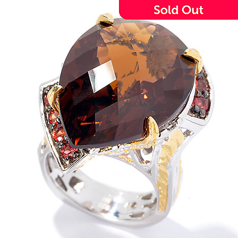 131-739 - Gems en Vogue II 21.07ctw Pear Shaped Whiskey Quartz & Orange Sapphire Ring