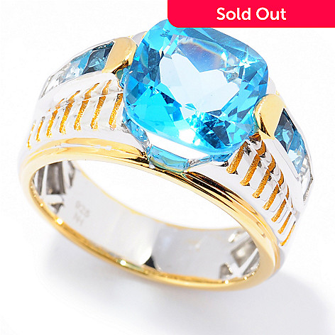 131-740 - Men's en Vogue 7.45ctw Shades of Blue Topaz Textured Ring