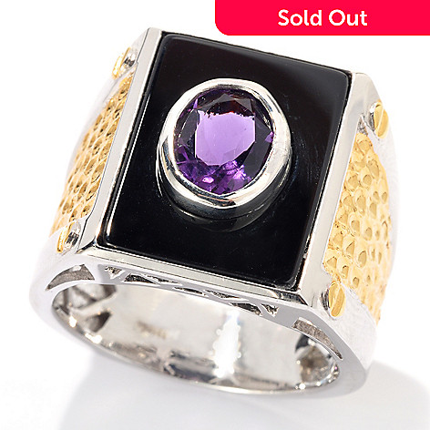 131-742 - Men's en Vogue 18 x 13mm Black Onyx & African Amethyst Hammered Ring