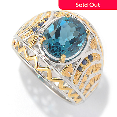 131-743 - Men's en Vogue 6.31ctw London Blue Topaz & Sapphire Textured Wide Band Ring