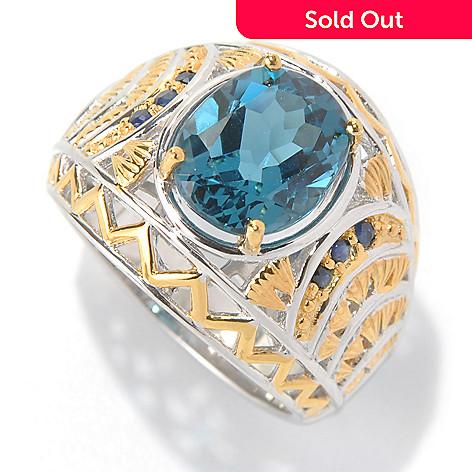131-743 - Men's en Vogue 6.31ctw London Blue Topaz & Sapphire Textured Wide Band Ring