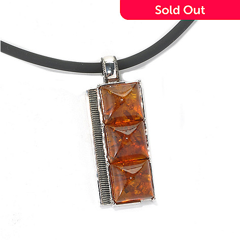 131-745 - Men's en Vogue Baltic Amber Three-Stone Pendant w/ 22'' Rubber Cord