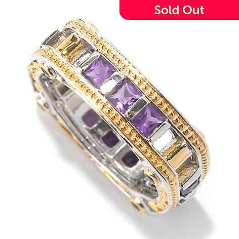 131-747 - Men's en Vogue 1.48ctw Amethyst & Sapphire Square Shaped Eternity Band Ring