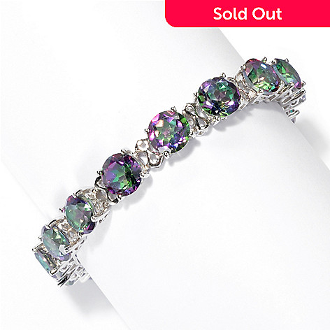 131-752 - Gem Treasures® Sterling Silver 8mm Topaz ''Kellie Anne'' Line Bracelet