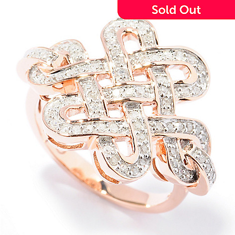 131-754 - Beverly Hills Elegance® 14K Rose Gold 0.35ctw Diamond Wide Knot Ring