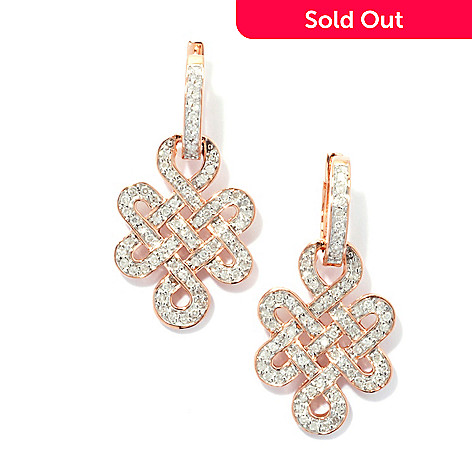 131-755 - Beverly Hills Elegance® 14K Rose Gold 0.50ctw Diamond Knot Drop Earrings