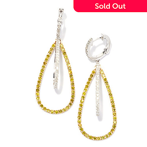 131-756 - Beverly Hills Elegance® 14K Two- tone 1.75'' 1.82ctw Yellow & White Diamond Earrings