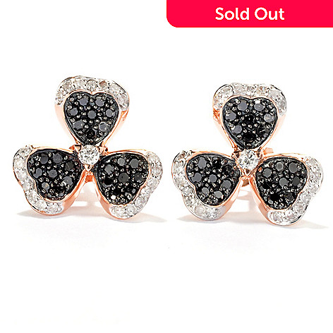 131-758 - Beverly Hills Elegance 14K Rose Gold 0.75ctw Black & White Diamond Clover Earrings