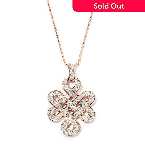 131-759 - Beverly Hills Elegance® 14K Rose Gold 0.50ctw Diamond Knot Pendant w/ Chain