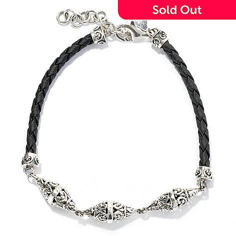 131-762 - Artisan Silver by Samuel B. 8'' Triple Cone Braided Cord Bracelet, 6.00 grams