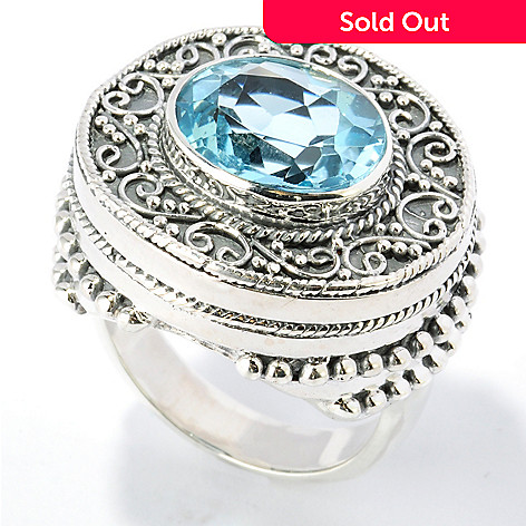 131-763 - Artisan Silver by Samuel B. 12 x 10mm Gemstone Textured & Layered Oval Ring