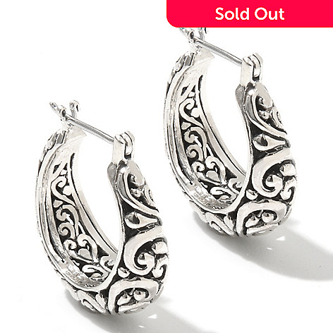 131-766 - Artisan Silver by Samuel B. 1'' Textured Swirl Design Hoop Earrings