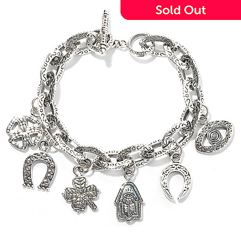 131-771 - Artisan Silver by Samuel B. 7.5'' Textured Good Luck Charm Bracelet, 33.00 grams