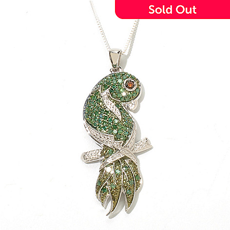 131-774 - Diamond Treasures Sterling Silver 0.78ctw Green & Red Diamond Parrot Pendant w/ Chain