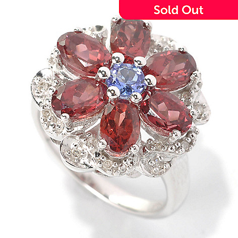 131-777 - Gem Insider™ Sterling Silver 3.59ctw Tanzanite, Garnet & Diamond Framed Flower Ring