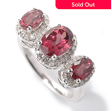 131-778 - Gem Insider™ Sterling Silver 2.45ctw Garnet & Diamond Haloed Three-Stone Ring