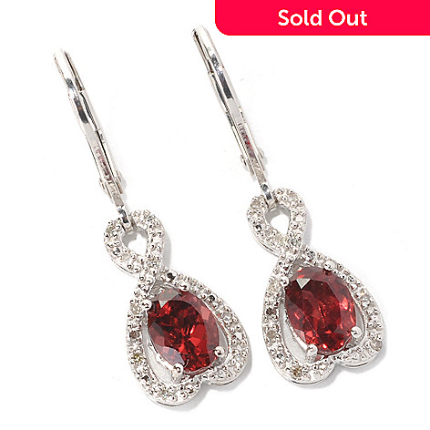 131-779 - Gem Insider™ Sterling Silver 2.08ctw Garnet & Diamond Crossover Leverback Earrings