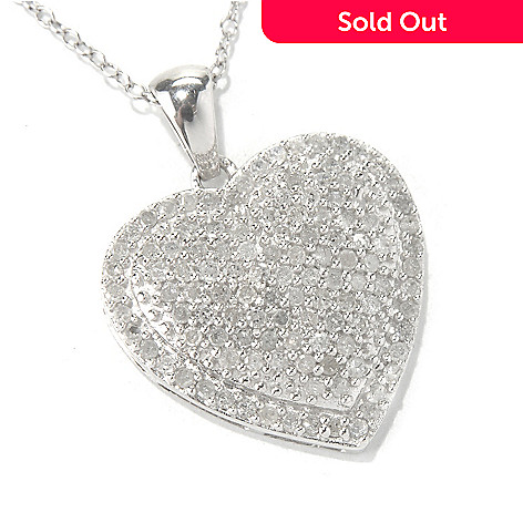 131-782 - Diamond Treasures® Sterling Silver 0.96ctw Diamond Heart Pendant w/ 18'' Chain