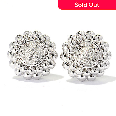 131-783 - Beverly Hills Elegance® Sterling Silver 0.25ctw Diamond Circle Stud Earrings