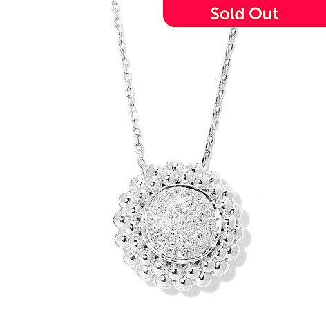 "131-784 - Beverly Hills Elegance® Sterling Silver 0.25ctw Diamond Circle Pendant w/ 18"" Chain"