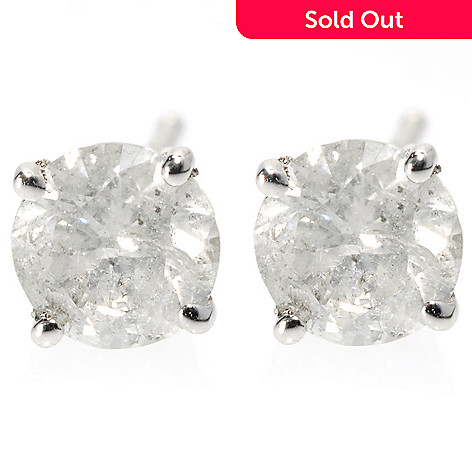 131-787 - Diamond Treasures 14K White Gold Round Diamond Stud Earrings