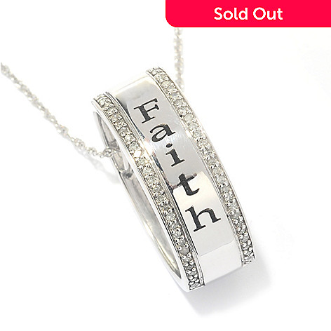 131-792 - Diamond Treasures® Sterling Silver 0.19ctw Diamond Inspirational Pendant w/ Chain