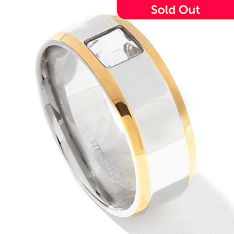 131-803 - Steel Impact™ Men's Two-tone Stainless Steel Square Crystal Band Ring
