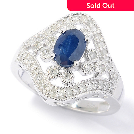 131-809 - Diamond Treasures® Sterling Silver 1.28ctw Sapphire & Diamond Beaded Openwork Wide Ring