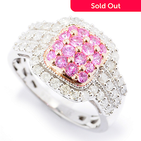 131-810 - Diamond Treasures Sterling Silver 1.10ctw Full Cut Pink Sapphire & Diamond Ring