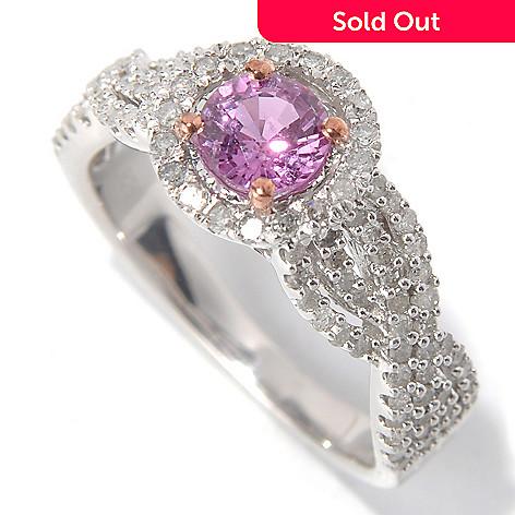 131-811 - Diamond Treasures® Sterling Silver 1.37ctw Round Pink Sapphire & Diamond Halo Ring