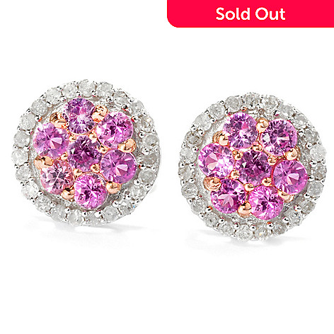131-812 - Diamond Treasures® Sterling Silver 0.75ctw Fancy Sapphire & Diamond Halo Earrings