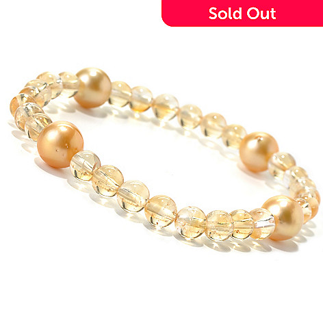 131-816 - 7.25'' 9-10mm Golden South Sea Cultured Pearl & Citrine Bead Stretch Bracelet