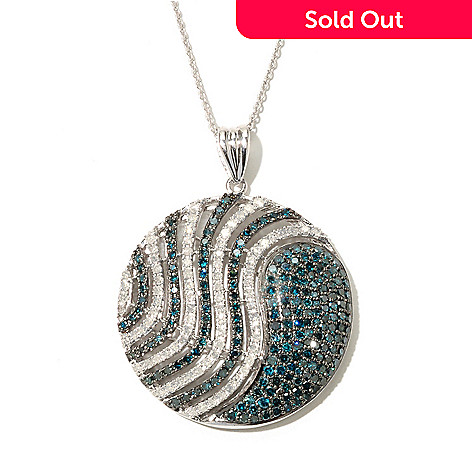 131-819 - Diamond Treasures Sterling Silver 2.71ctw White & Blue Diamond Disk Pendant w/ Chain