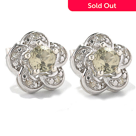 131-823 - Gem Insider Sterling Silver 1.09ctw Zultanite & Diamond Flower Stud Earrings